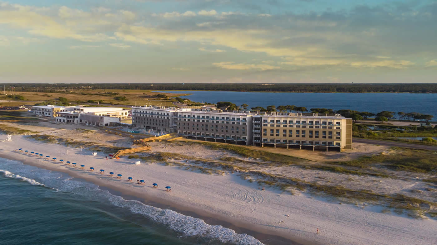 aerial photo of the Lodge and surrounding beach
